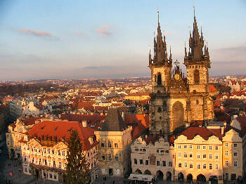Tyn Church in Prague. Located on the Old Town Square directly in the historic city centre
